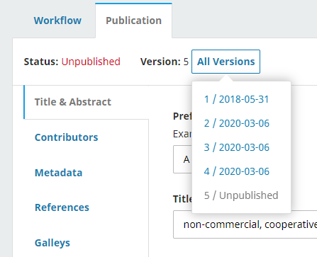Publication tab of manuscript showing a list of all versions available for this article. Article currently has 4 published version and 1 unpublished.