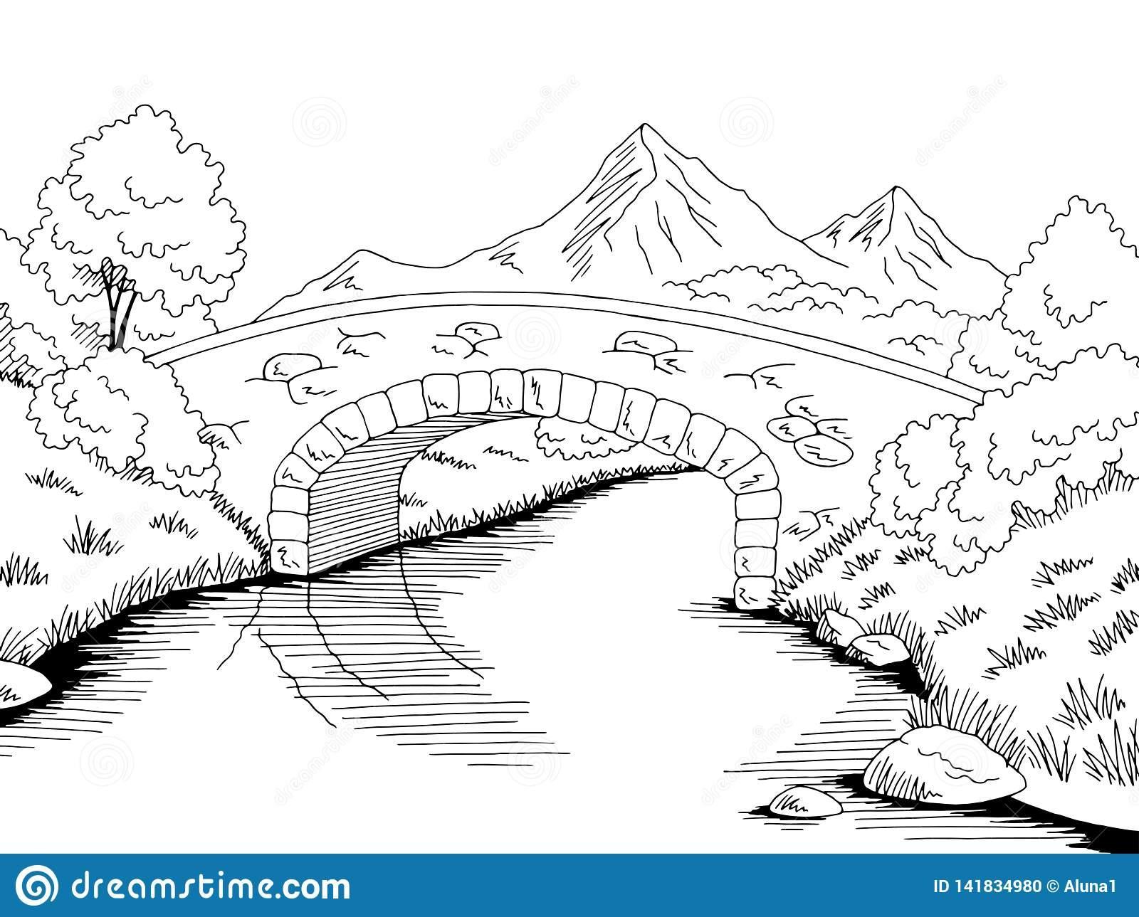 Bridge graphic river black white landscape sketch illustration vector