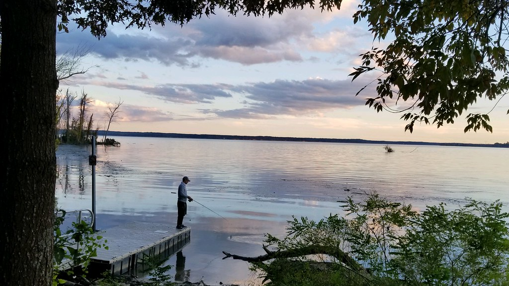 left justified image of man fishing