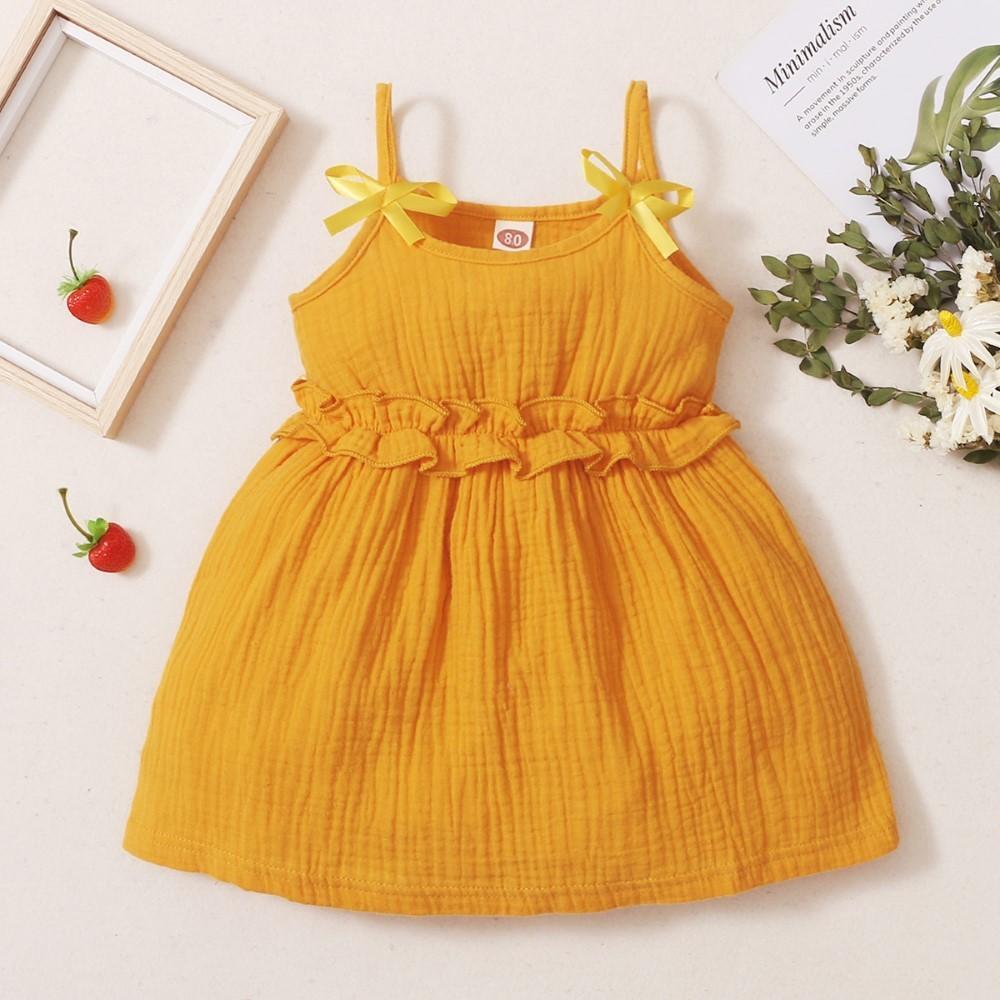 Thanksgiving: Little Girl Solid Color Ruffle Elastic Waist Sling Dress