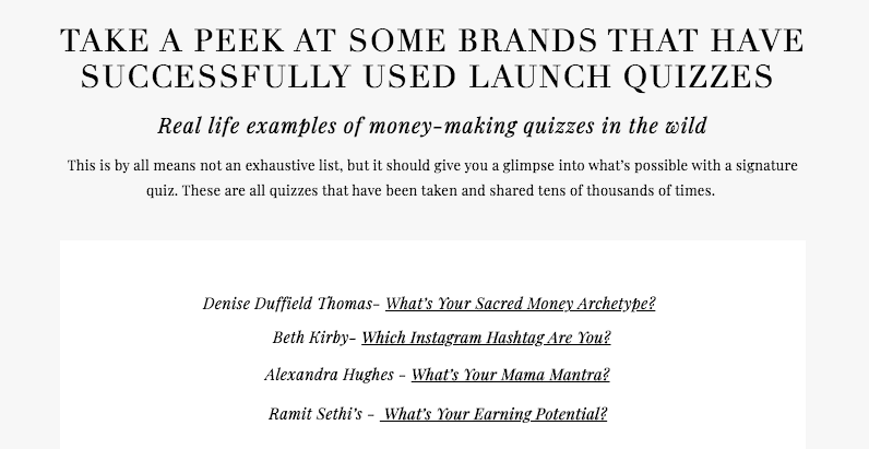 list of brands with launch quizzes