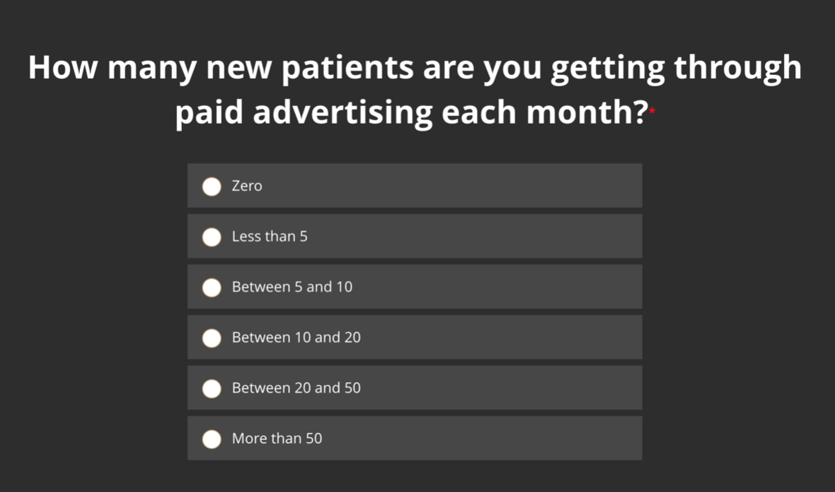 How many new patients are you getting through paid advertising each month?