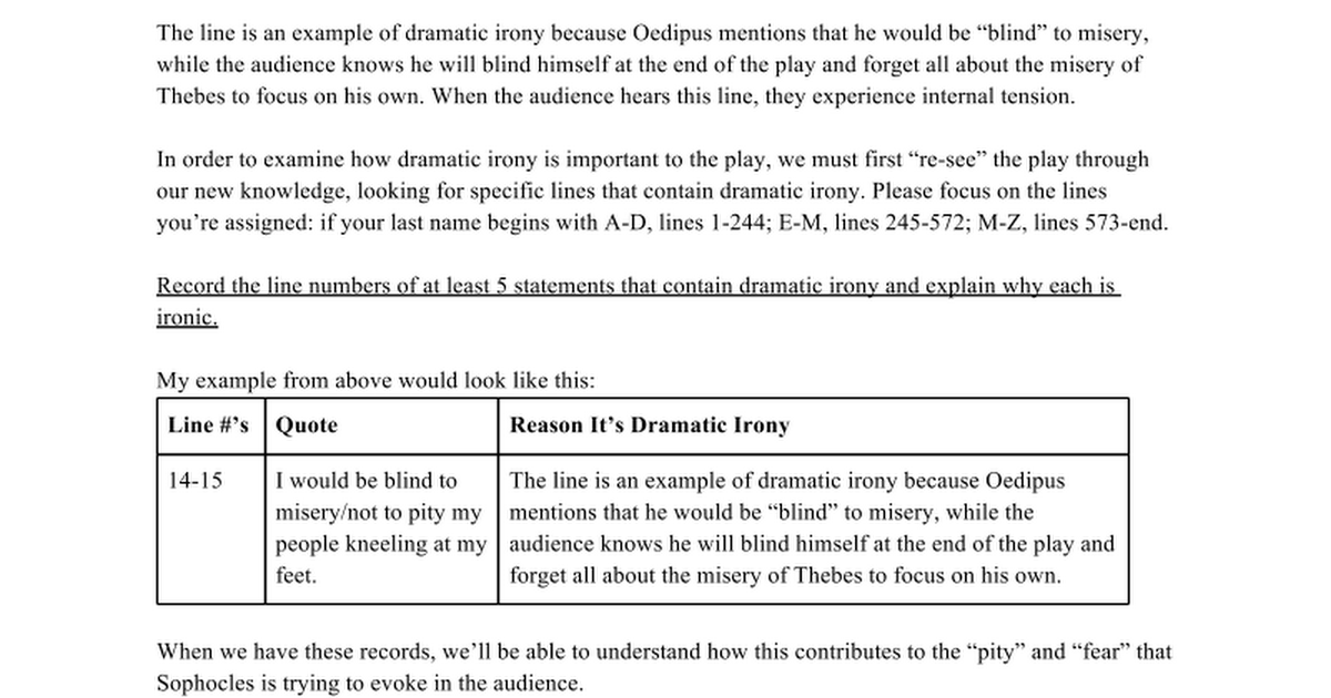 Dramatic Irony Worksheet Google Docs – Irony Worksheet
