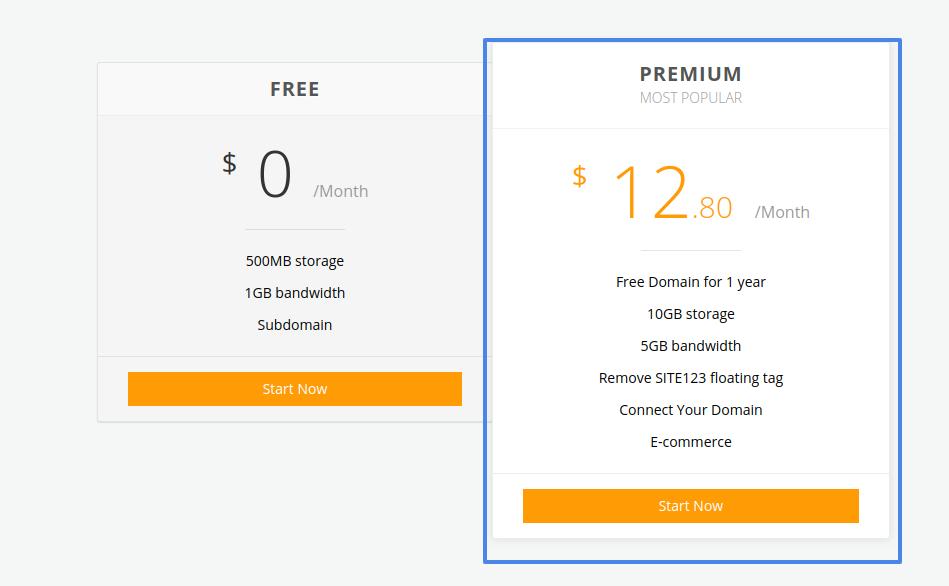 site123 website maker pricing