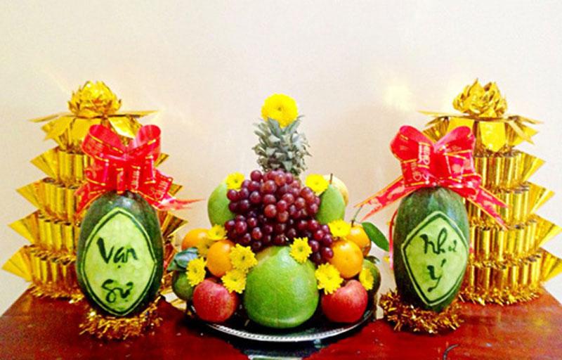 thắp hương thần tài hoa quả