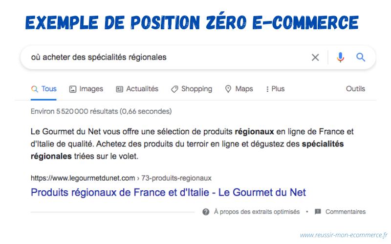 Exemple de position zéro e-commerce