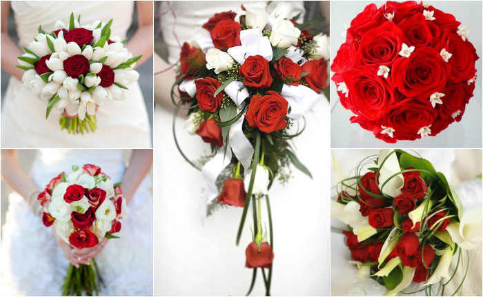 Декор красно-белого свадебного букета