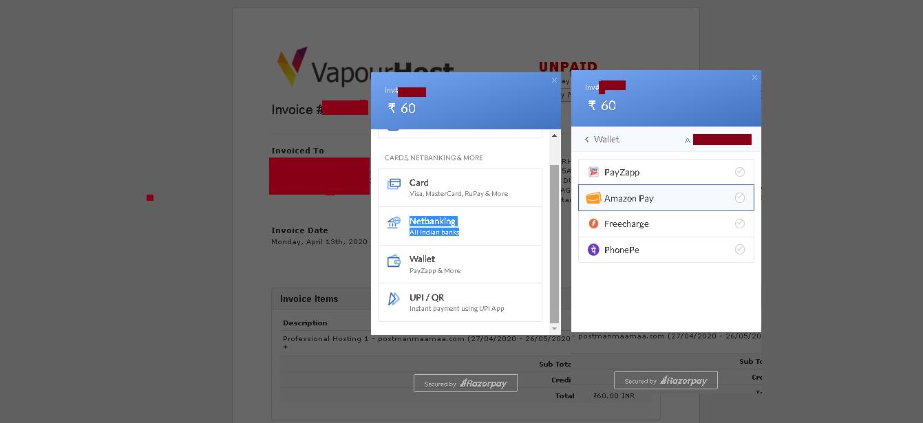Vapourhost Payment Method Razorpay