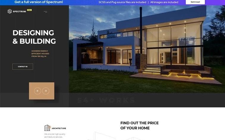лучший бесплатный шаблон темы ботстрапа веб-сайт архитектура агентство недвижимости