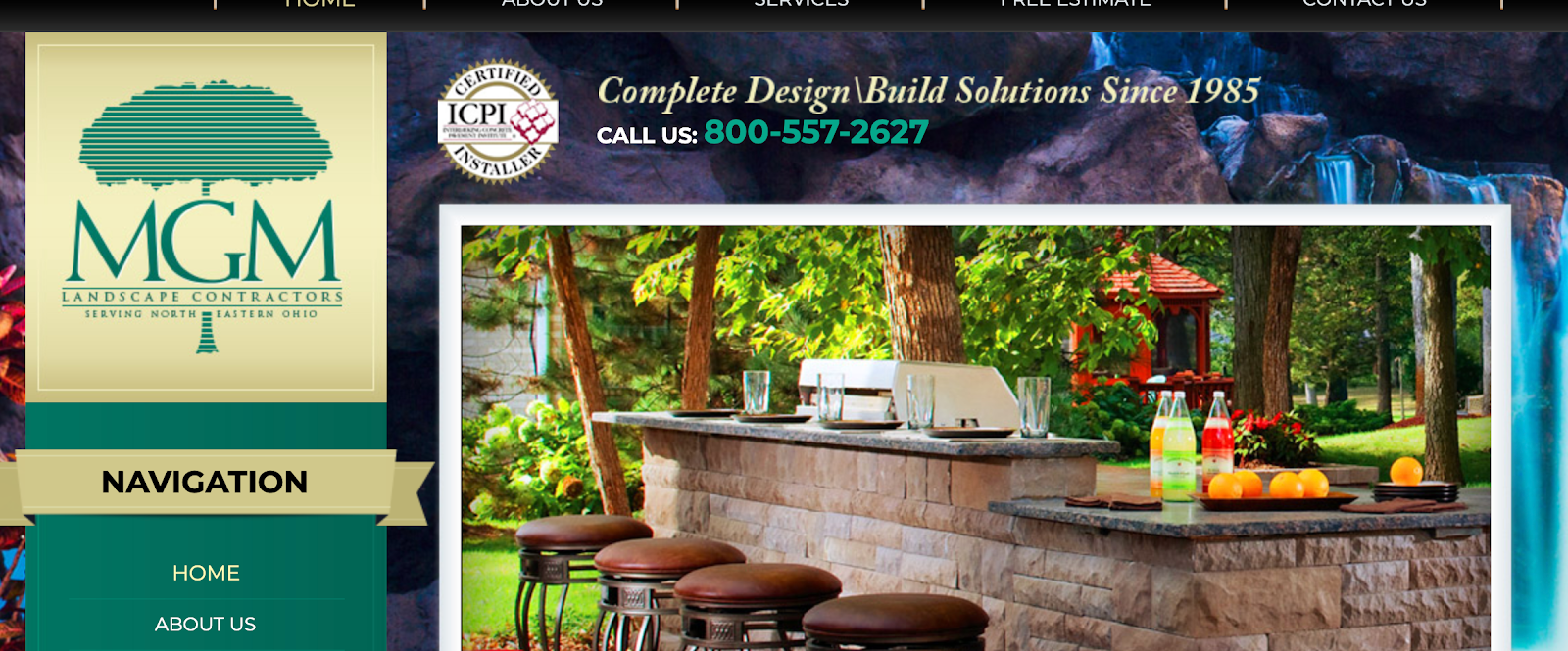 Landscape company shows pictures of outdoor projects.