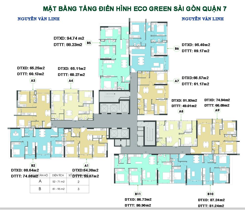 Mặt bằng của dự án Eco Green Saigon Quận 7
