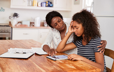 Mother and Daughter worried suffering from Math Anxiety