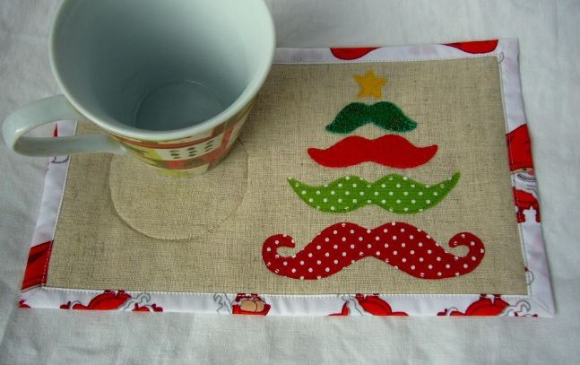 Holiday Mustache Mug Rug
