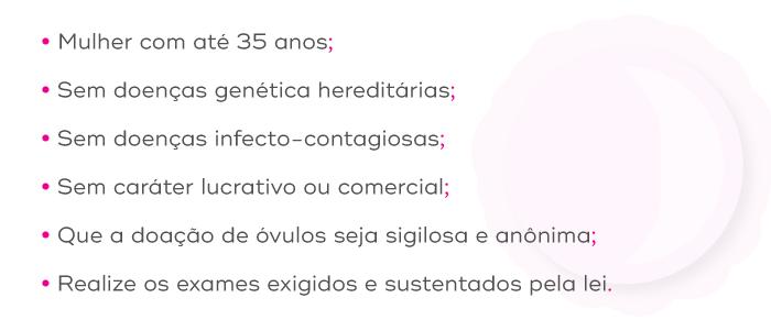 Pré-requisitos para doação de óvulos