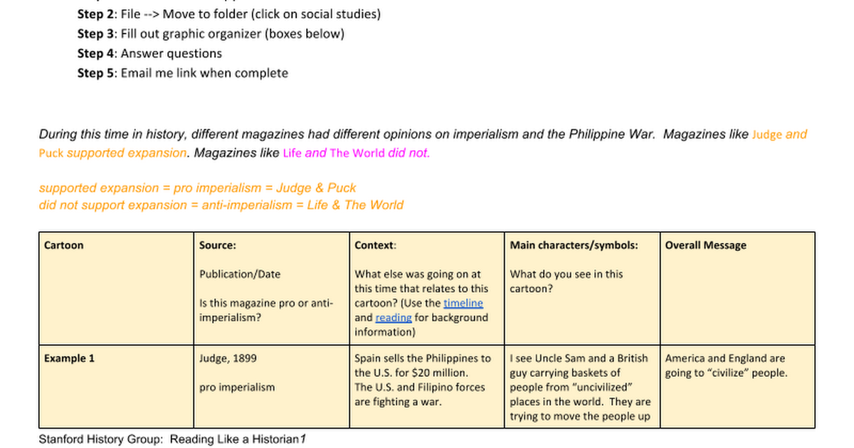 Philippine War Political Cartoon Graphic Organizer Google Docs – Political Cartoon Analysis Worksheet