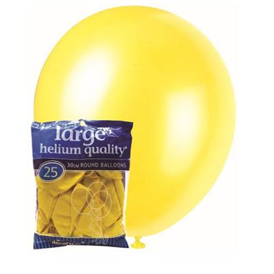 Discount Party Supplies 30cm Latex Balloons - Decorator Yellow (25 Pack)