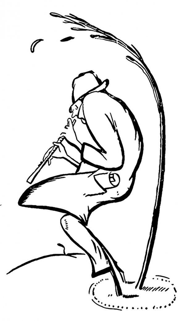 """Олександр Довженко намалював дружній шарж наПавла Тичину 1923 року йопублікував угазеті """"Література. Наука. Мистецтво"""". Автор обіграв прізвище поета– той стоїть біля тичини, щохитається під вітром, ісам схожий нанеї. Грає накларнеті– це натяк напершу збірку віршів """"Сонячні кларнети"""""""