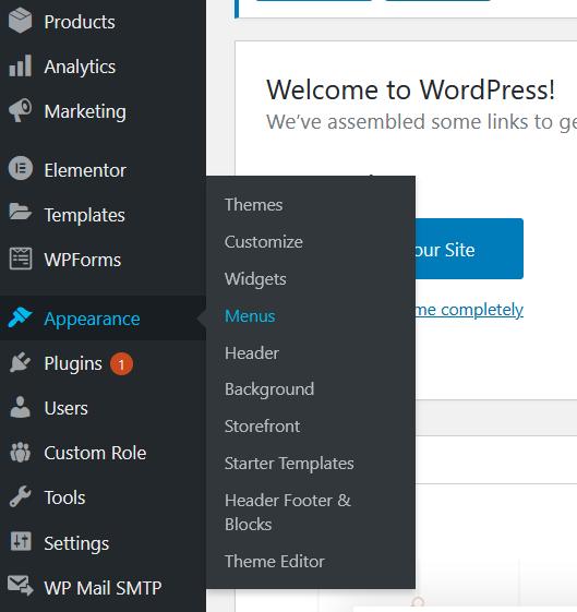 step 1 of how to create a dropdown menu in wordpress