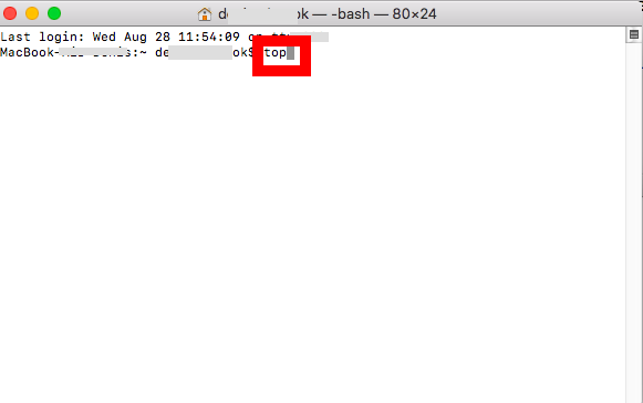 """Type the """"top"""" command and press """"Return"""" - Mac"""