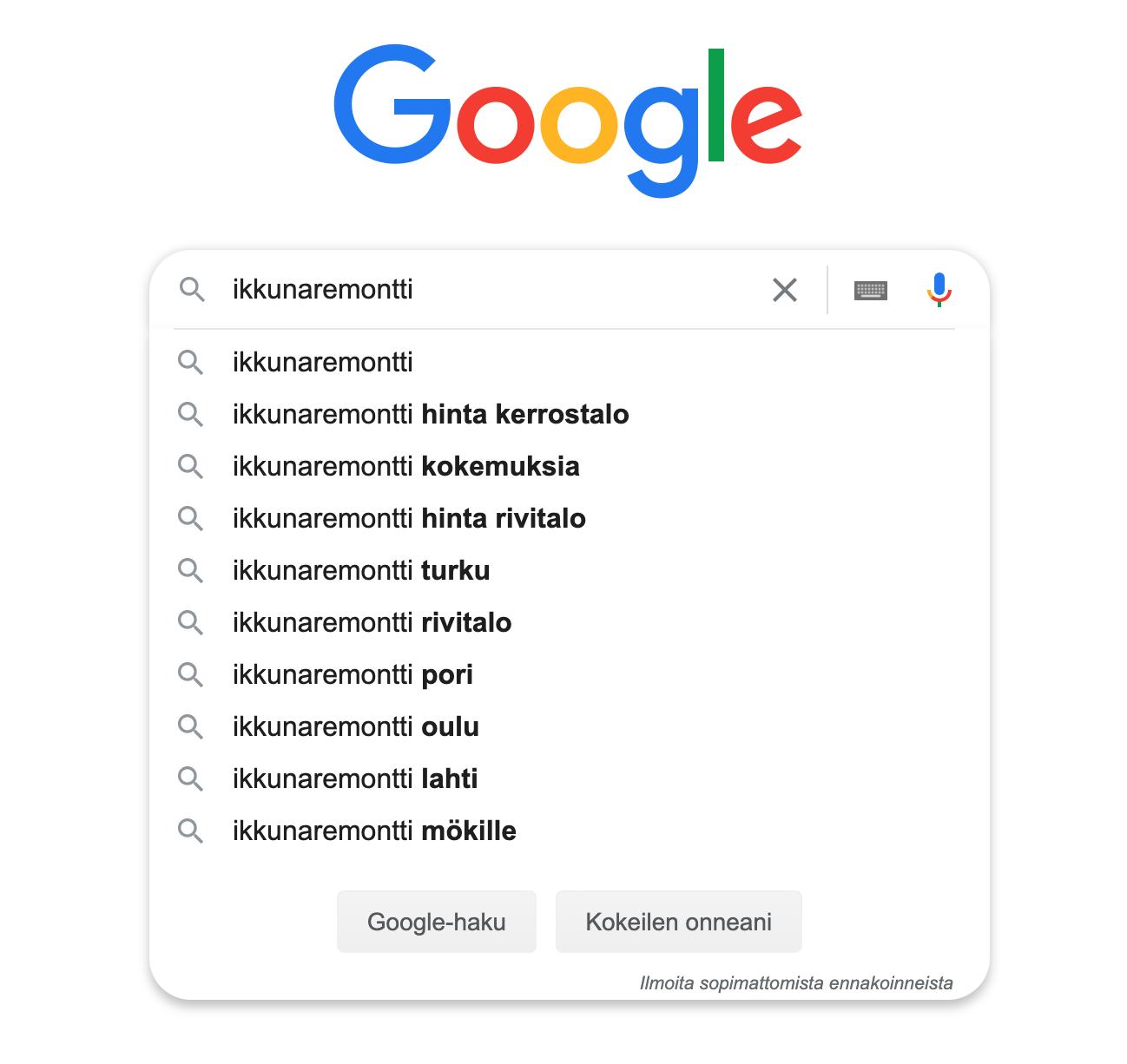 SEO työn apuna Google