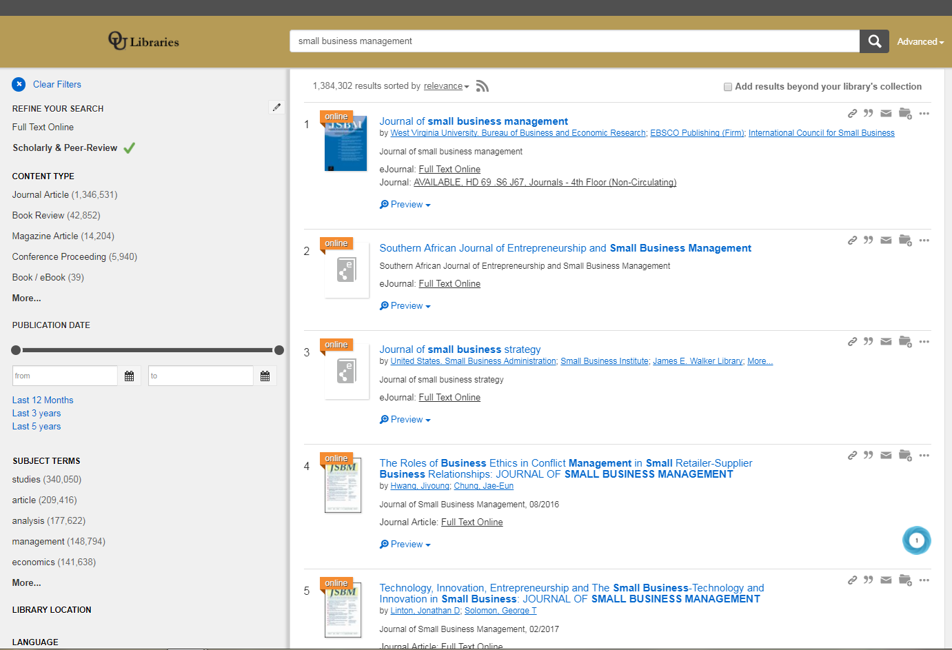 Library OneSearch results with Scholarly and Peer Review filter turned on