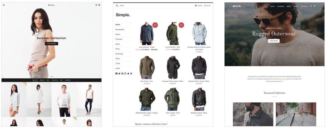 Примеры некоторых бесплатных тем Shopify - «Безграничный», «Простой» и «Бруклин».