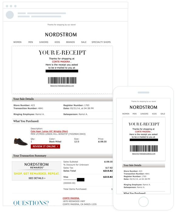 Nordstrom confirmation email