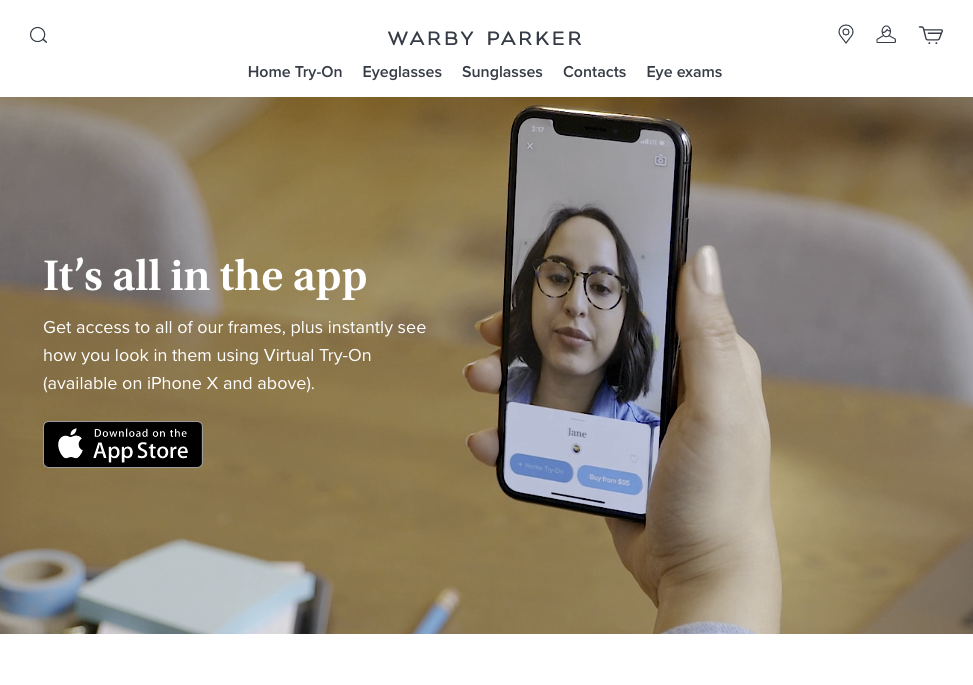 warby parker AR try on