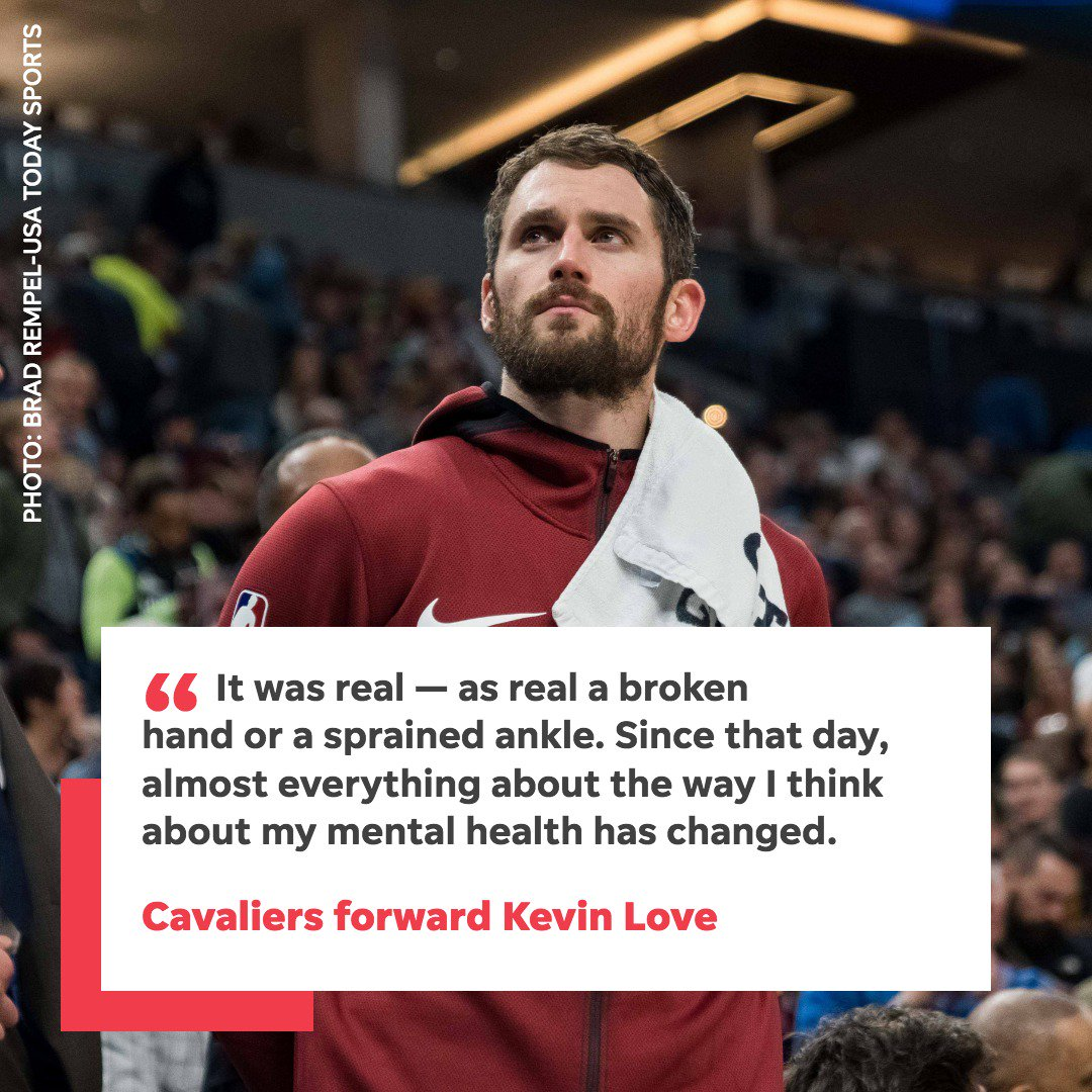 """USA TODAY on Twitter: """"Cleveland Cavaliers forward Kevin Love opens up about a panic attack he suffered during a game earlier this season and the importance of talking about mental health in"""