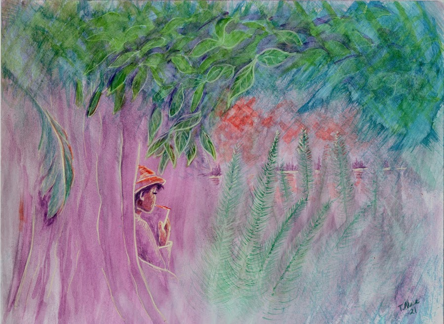 purple and green landscape with a person sitting by a tree