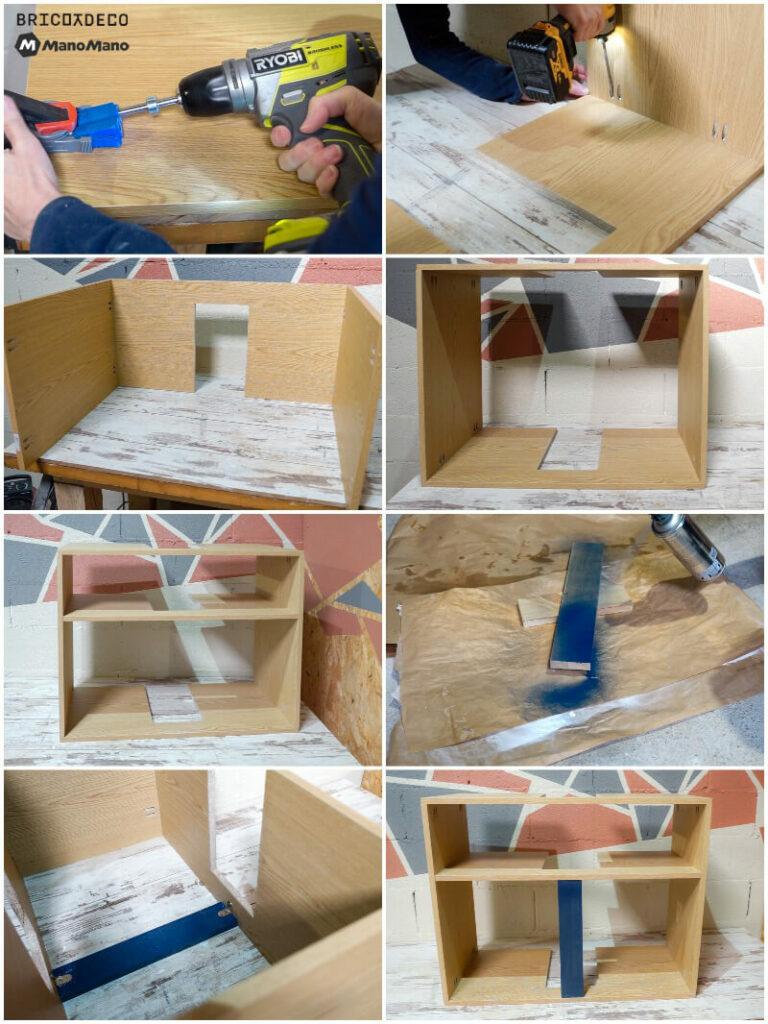 ensamblar los tableros del mueble para lavabo