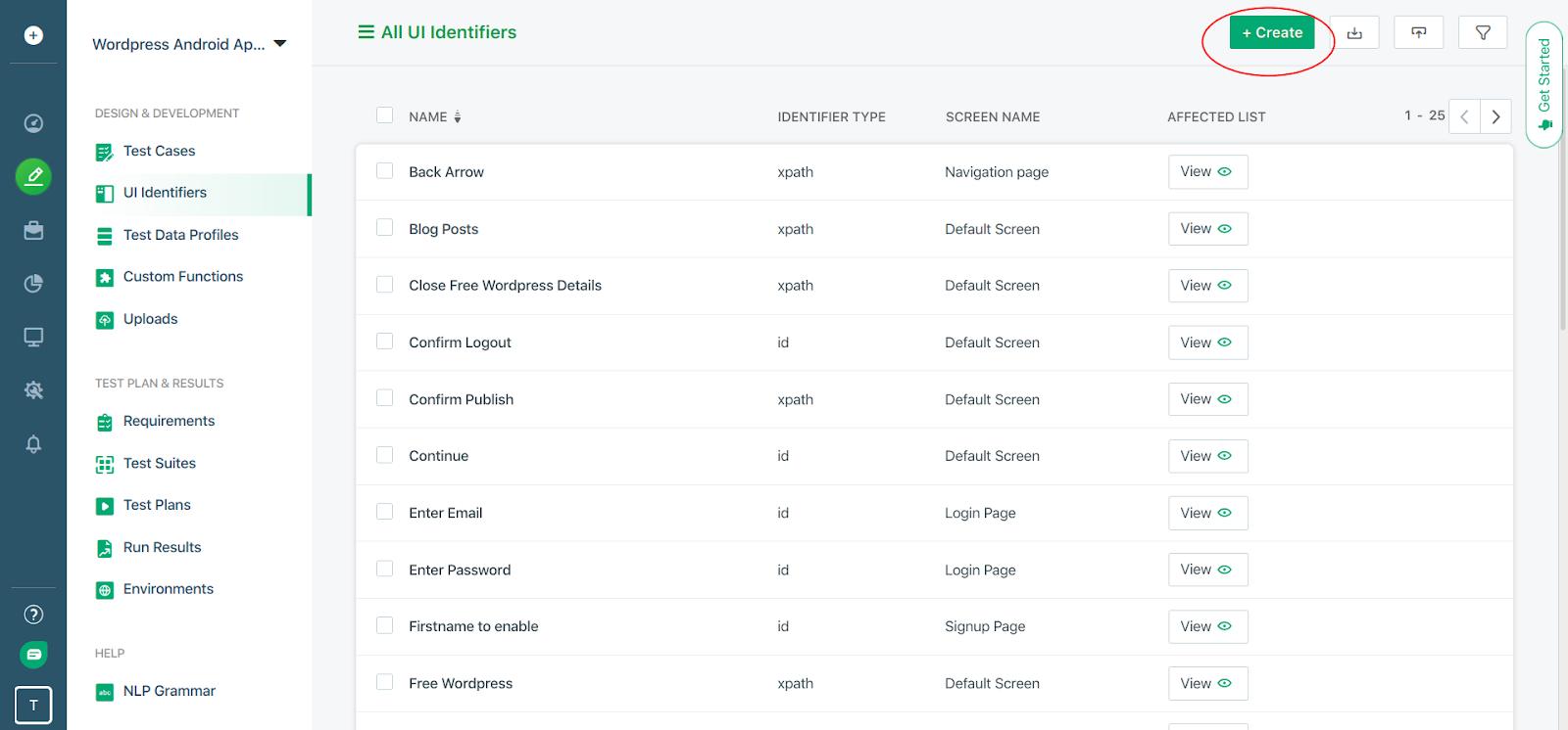 UI Identifiers page