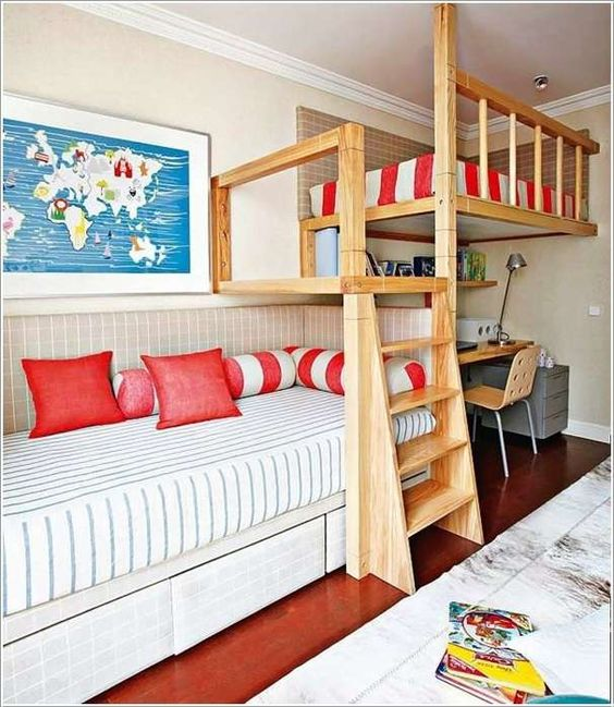 Wood Bunk Bed with Red Pillow and Bedspread