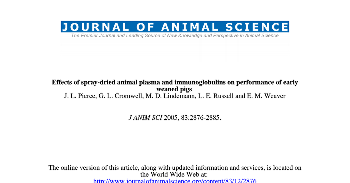 Effects Of Spray Dried Animal Plasma And Immunoglobulins