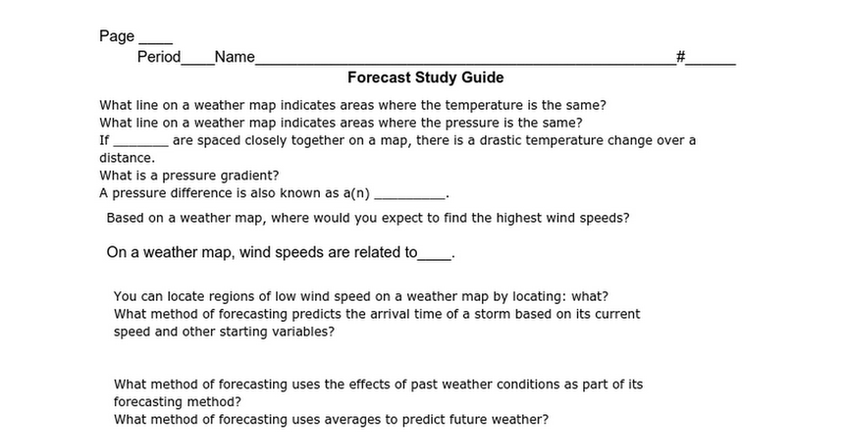 Forecast Study Guide   Google Docs
