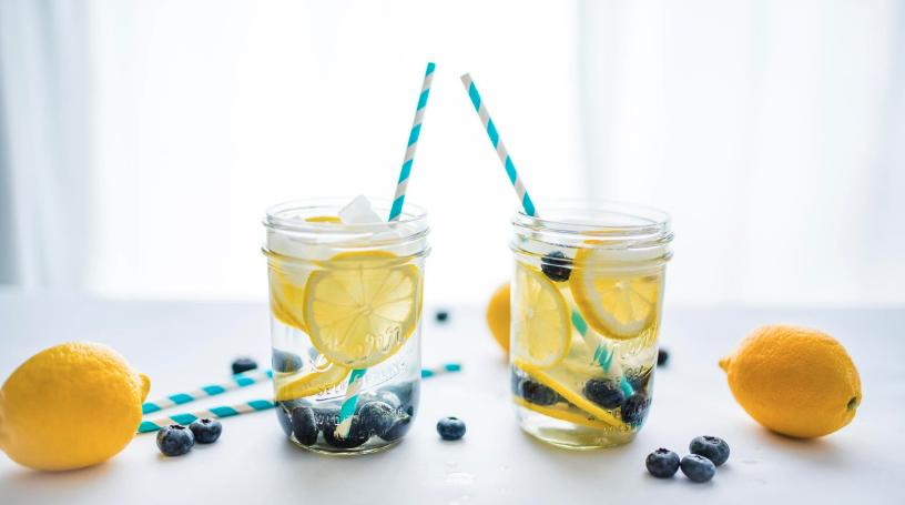 lemons and blueberries in water