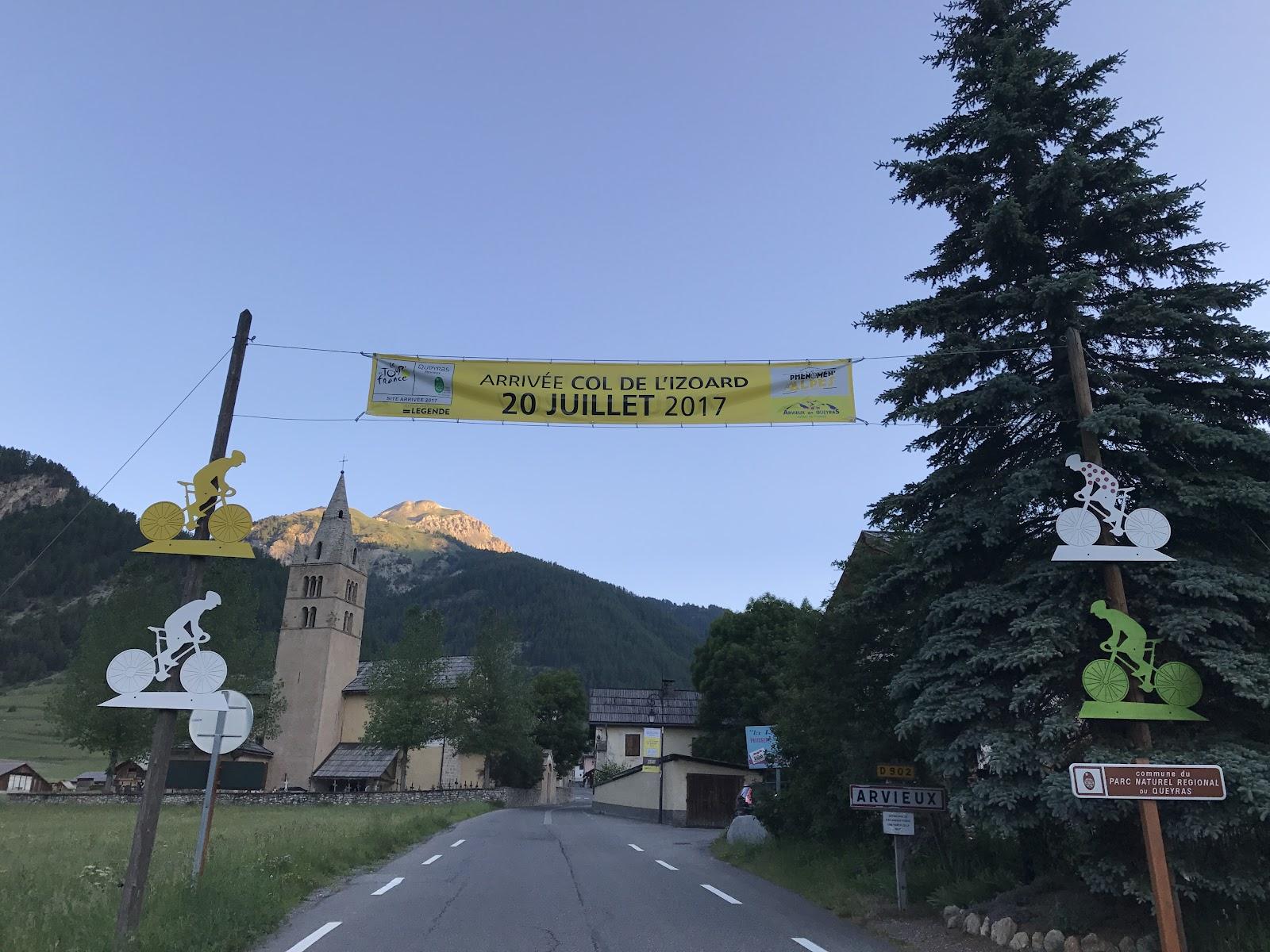 Cycling Col d'Izoard Guillestre Tour de France signs and banners