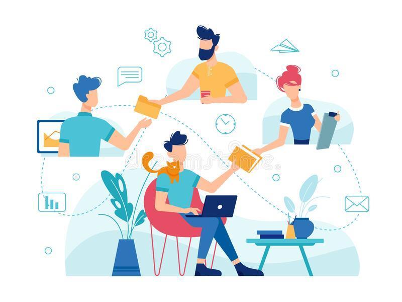Teamwork Online Work Management, Home Office Stock Vector - Illustration of  goal, email: 188524639