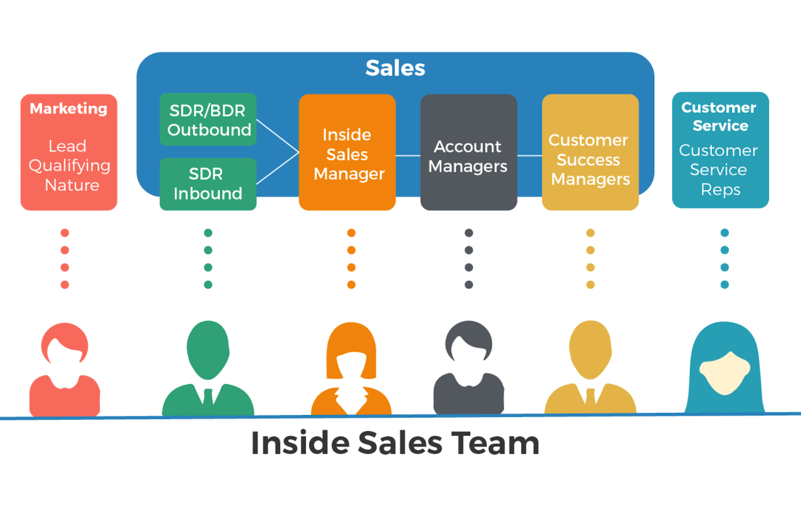Sales team roles. SDR, BDR, Account Maanger, Sales Executive, Customer Success Manager