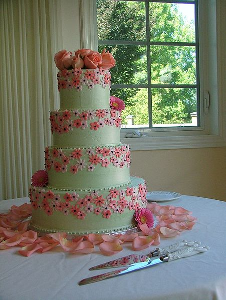 File:Pink decorated wedding cake tiered.jpg