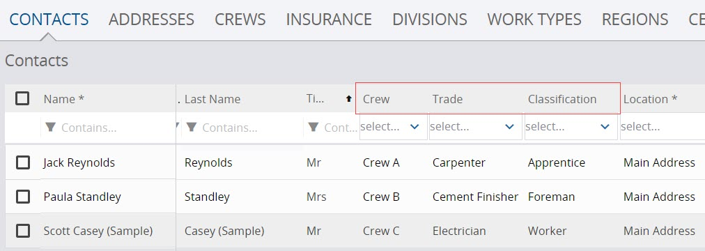 Assign contacts to crew