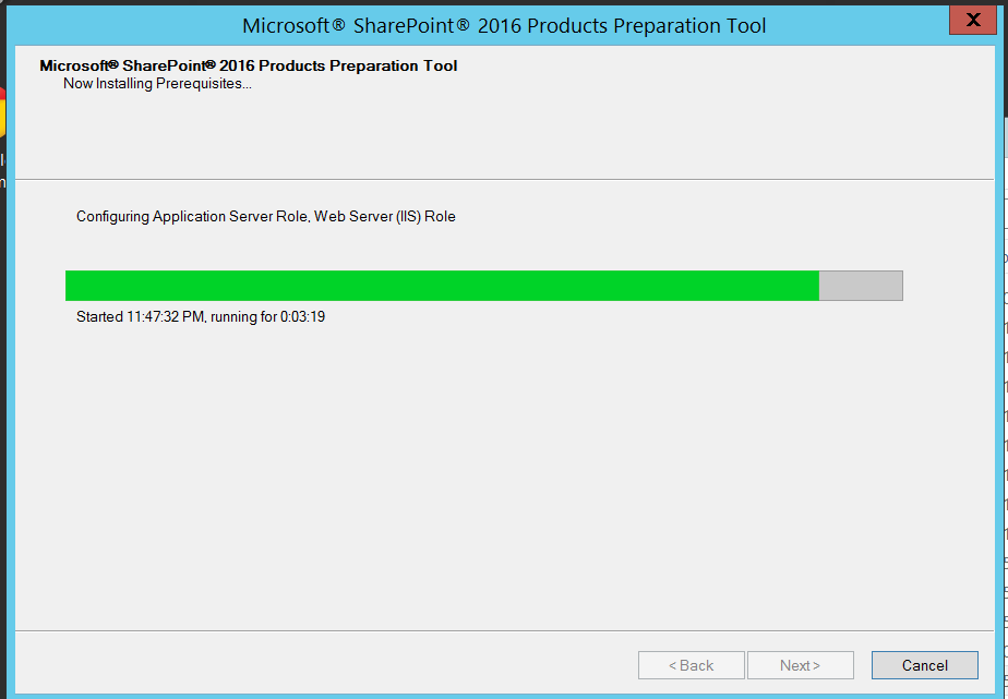 Microsoft SharePoint 2016 Products Preparation Tool