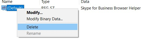Choose Skype for Business Registry, right-click on it and delete it.