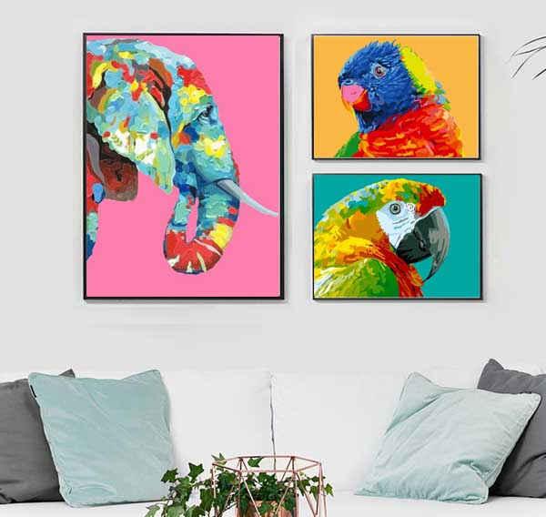 Malen nach Zahlen Tierkunst Triptychon