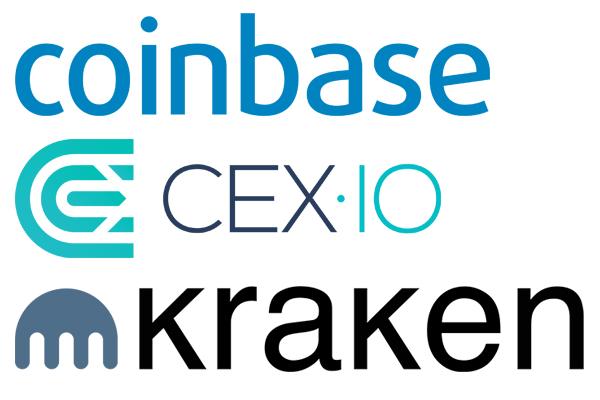 Logos de Coinbase, Cex.io y Kraken