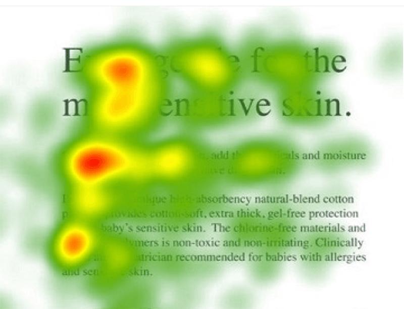 Mapa de calor del patrón F en el texto