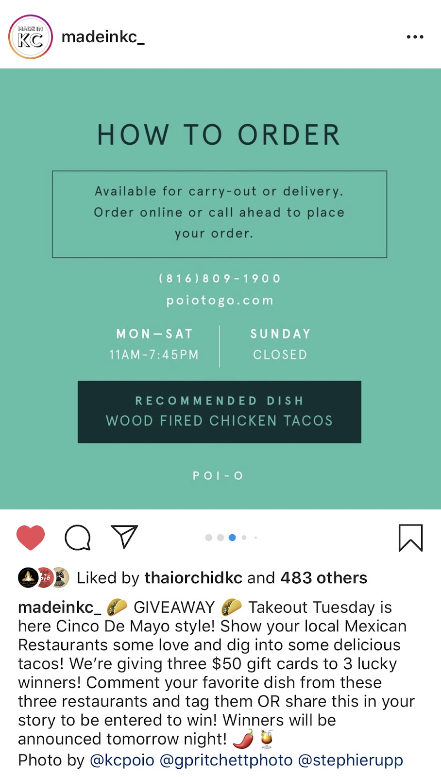 Instagram screenshot from a madeinkc_ post with a graphic explaining how to place a takeout order from kcpoio