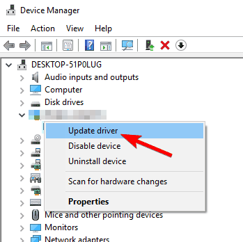 Open Device Manager and Update the Driver