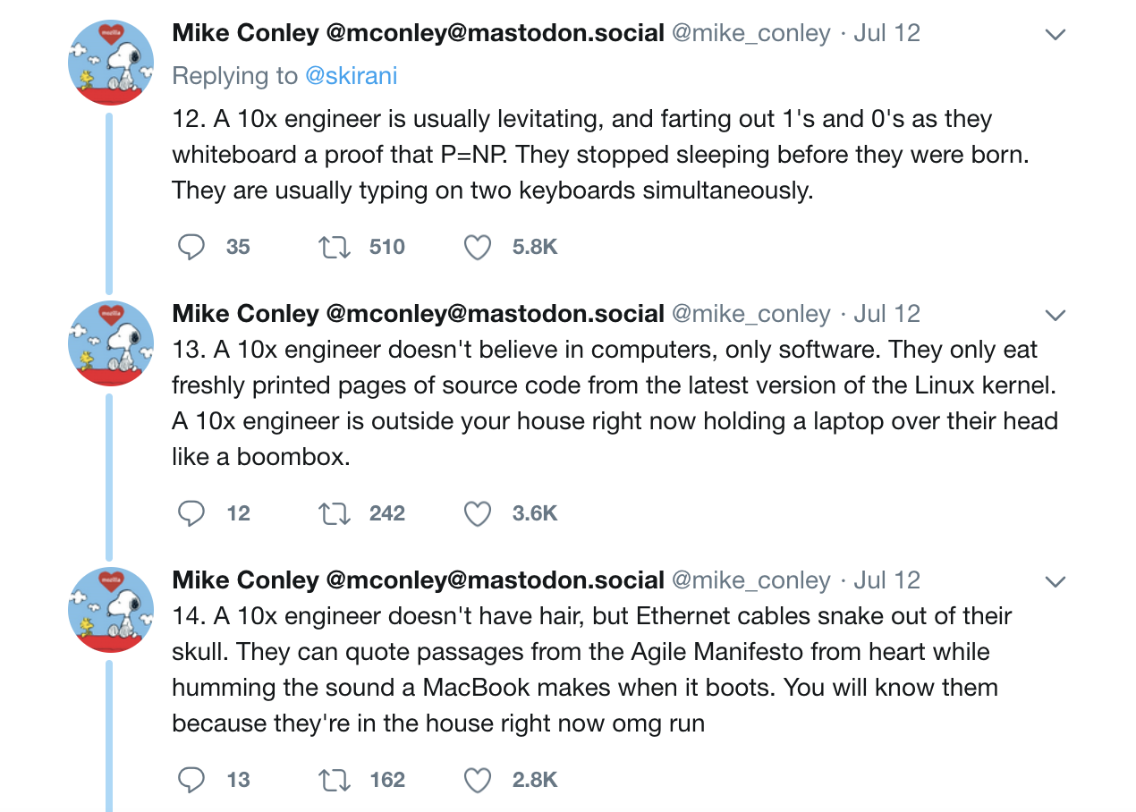 """Someone responding to Shekhar's """"10x engineer"""" tweets with a set of satirical characteristics like """"farting out 1's and 0's"""""""