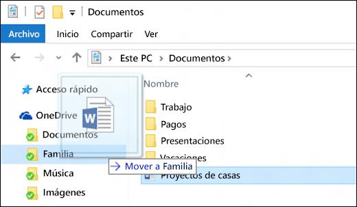 Arrastrar un archivo a una carpeta de OneDrive